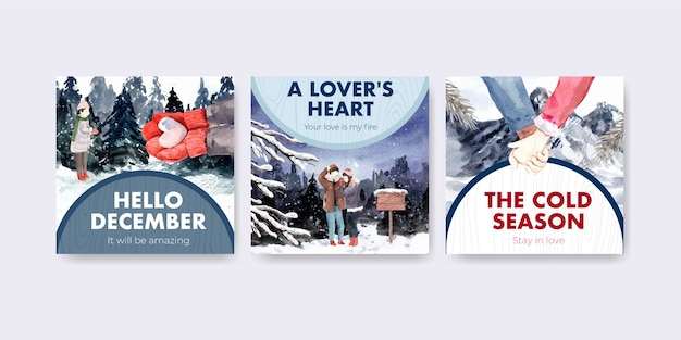 Advertise template with winter love concept design for brochure and marketing watercolor vector illustration