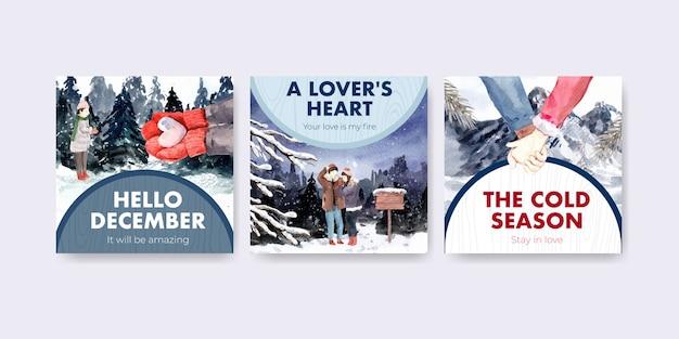 Pubblicizza il modello con il concept design di amore invernale per brochure e illustrazione vettoriale dell'acquerello di marketing
