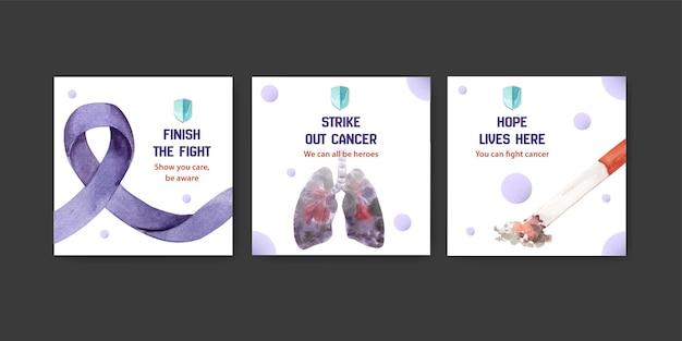 수채화 벡터 일러스트 레이 션 마케팅에 대 한 세계 암의 날 컨셉 디자인 템플릿을 광고합니다.