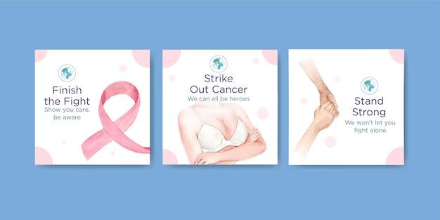 Pubblicizza il modello con il concept design della giornata mondiale del cancro per l'illustrazione vettoriale dell'acquerello di marketing.