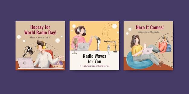 마케팅 및 비즈니스 수채화 그림에 대한 세계 라디오의 날 컨셉 디자인 템플릿 광고