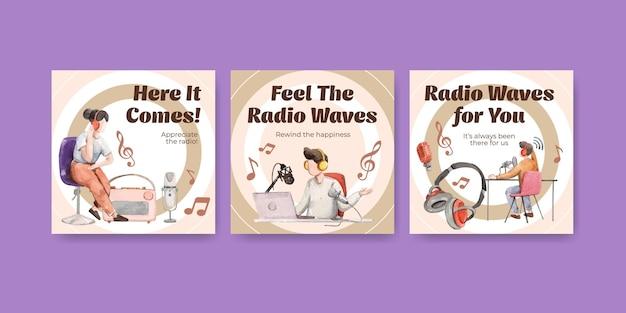 Рекламный шаблон с концептуальным дизайном всемирного дня радио для маркетинга и бизнес-акварельной иллюстрации