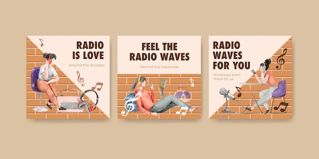 Advertise template with world radio day concept design for marketing and business watercolor illustration