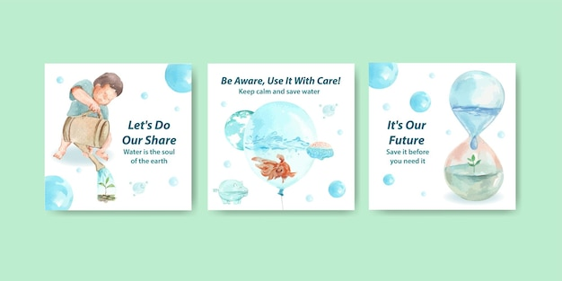 Advertise template with world water day concept design for business and marketing watercolor illustration
