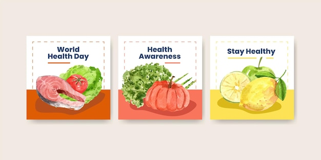 Advertise templates for world health day in watercolor style