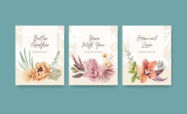 Pubblicizza con l'illustrazione dell'acquerello di progettazione di concetto di cerimonia nuziale