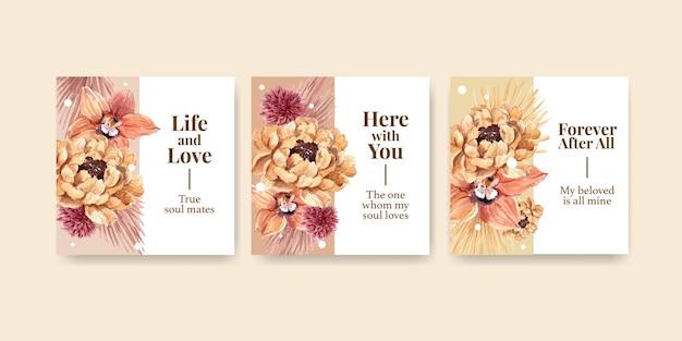 결혼식 개념 디자인 수채화 일러스트와 함께 광고