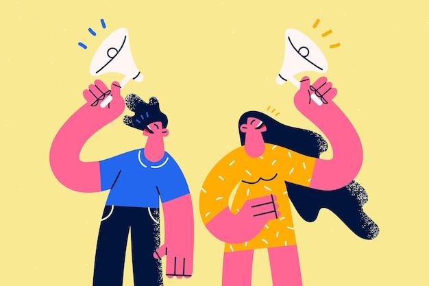 광고, 발표 및 판촉 개념입니다. 노란색 배경 벡터 삽화 위에 스피커와 함께 서서 말하는 젊은 여성과 남성 만화 캐릭터
