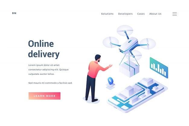 Рекламный баннер для службы онлайн доставки Premium векторы