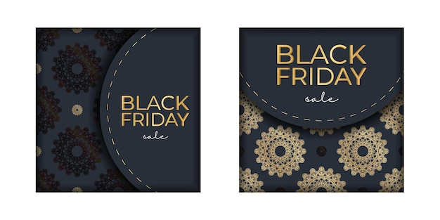 Advertisement for black friday sales dark blue with a round gold pattern