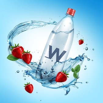 전체 플라스틱 병 및 물 얼룩에 떨어지는 신선한 딸기의 광고 그림