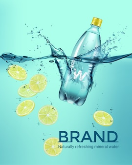 Advertisement illustration of plastic bottle of drink and yellow sliced lemon falling in water with splash on turquoise background