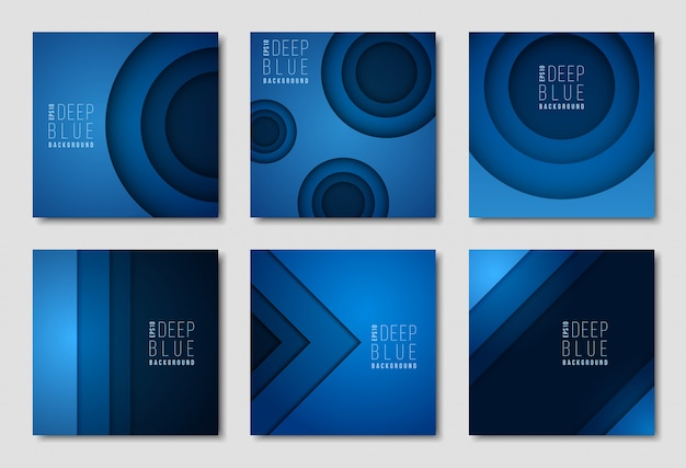 Advertisement newsletter templates. blue backdrops with simple geometric shapes