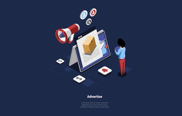 Advertisement promotion concept design cartoon 3d style
