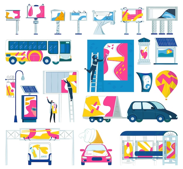 Рекламный знак открытый коммерческий баннер набор векторных иллюстраций маркетинг с рекламным щитом пустой ...
