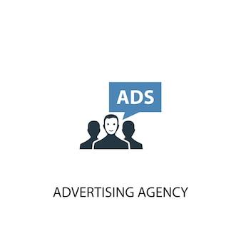 広告代理店のコンセプト2色のアイコン。シンプルな青い要素のイラスト。広告代理店のコンセプトシンボルデザイン。 webおよびモバイルui / uxに使用できます