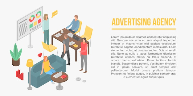 Advertising agency concept banner, isometric style