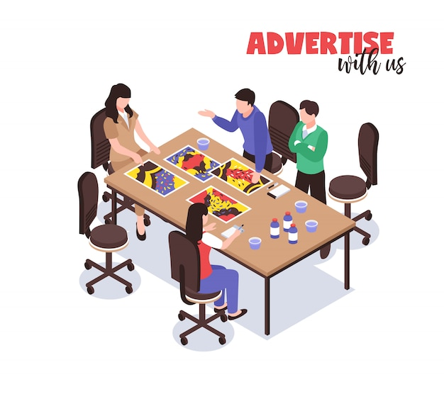 Advertising agency concept with creative thinking symbols isometric