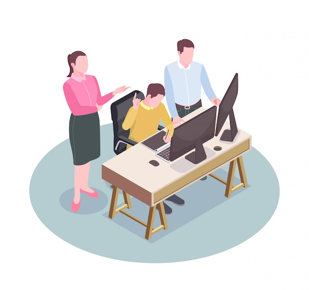 Impiegati dell'agenzia pubblicitaria nel loro posto di lavoro composizione isometrica 3d