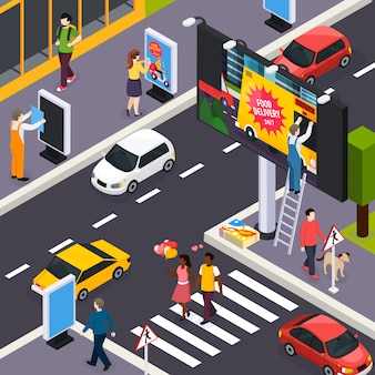 Advertising agency installers placing banners within busy city streets crossroads daytime isometric illustration
