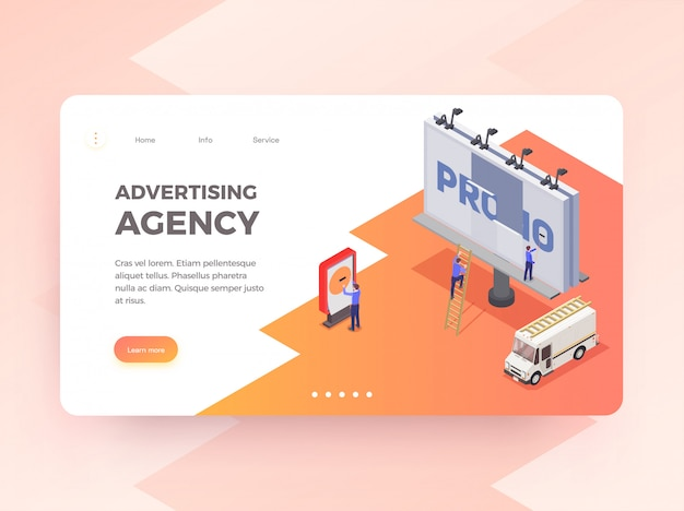 Advertising agency isometric horizontal banner with people changing billboard 3d