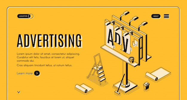Advertising agency isometric vector web banner