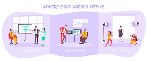 Insieme dell'illustrazione dell'ufficio dell'agenzia pubblicitaria