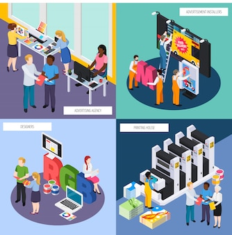 Advertising agency personnel isometric composition set
