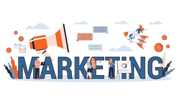 광고 및 마케팅 개념. 고객과의 커뮤니케이션. 비즈니스 전략과 성공. 삽화