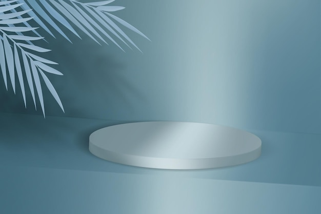 Advertising background with empty podium for product demonstration. pedestal with tropical leaves.