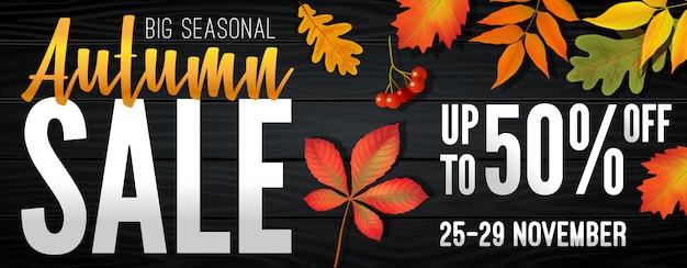 鮮やかな紅葉のシーズンの終わりに秋のセールについての広告バナー。