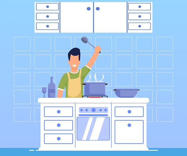 Advertising banner cooking dinner cartoon flat.