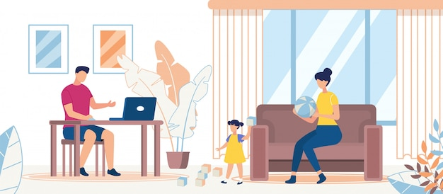 Advertising banner family spend time together flat