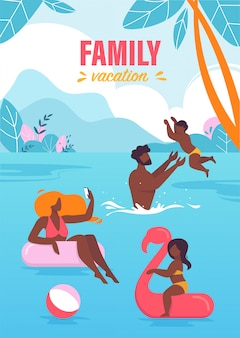 Advertising banner family vacation lettering