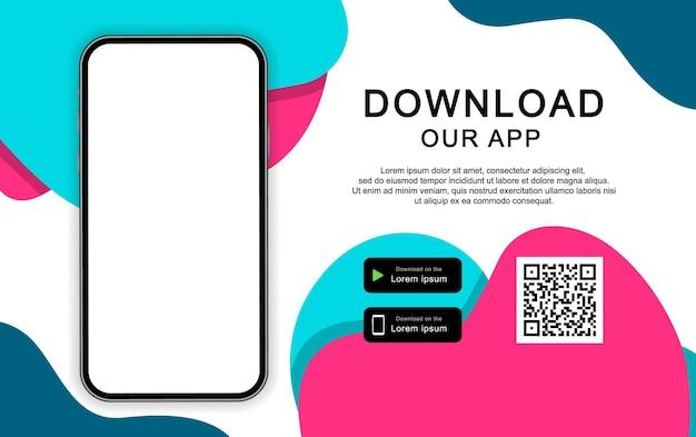 モバイルアプリをダウンロードするための広告バナー。携帯電話用のアプリをダウンロードしてください。アプリの画面が空のスマートフォン。