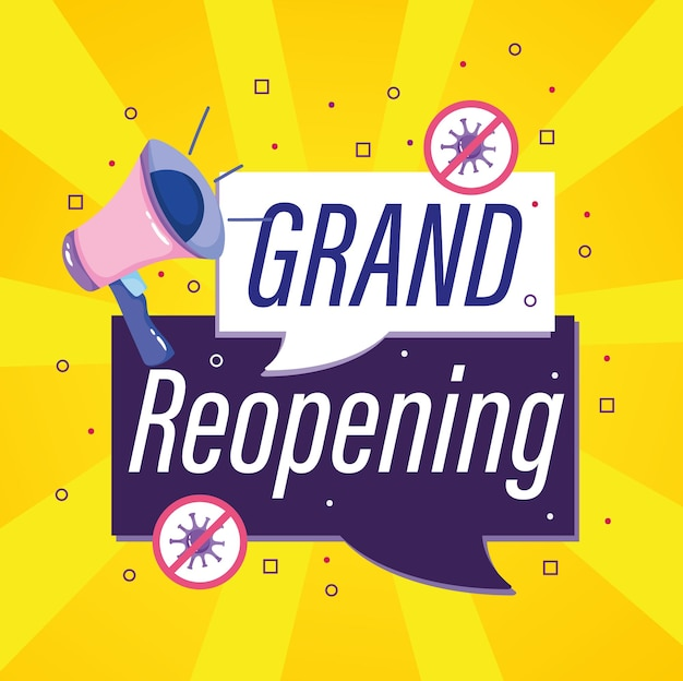 Advertising banner for grand reopening with megaphone  illustration