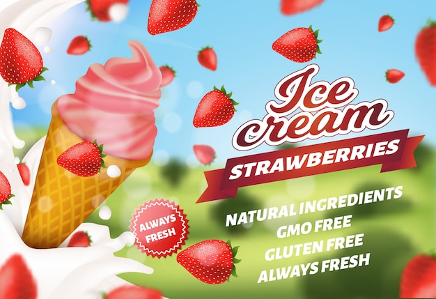 Advertising banner offering strawberry ice cream
