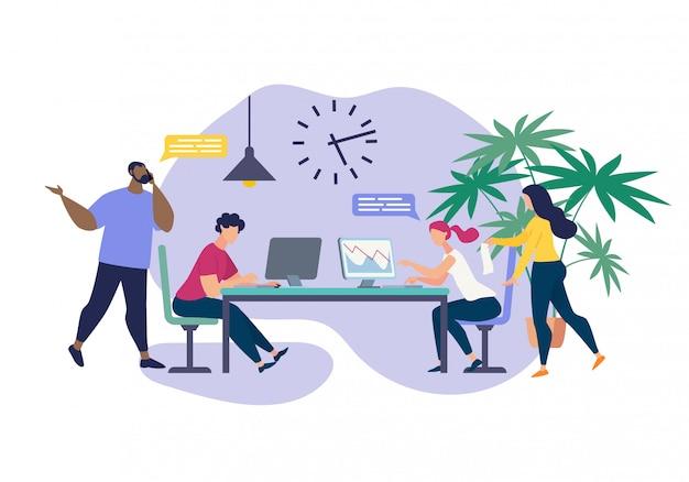 Advertising banner office collaboration cartoon.