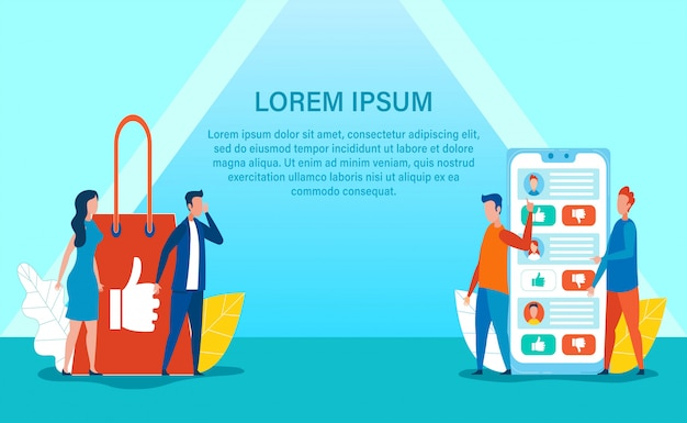 Advertising banner and online shop crosslining Premium Vector