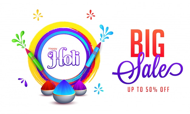 Advertising banner or poster design with color guns, bowls full