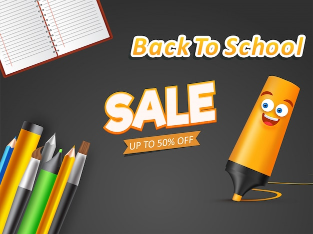 Advertising banner or poster with school supplies element