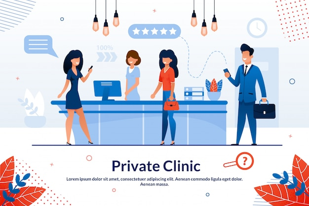 Advertising banner private clinic lettering flat.
