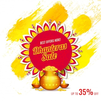 Advertising banner template design with discount offer for dhanteras sale.