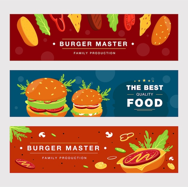 Advertising banner template set for fast food delivery.