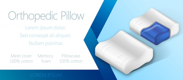 Advertising banner template with orthopedic pillow.