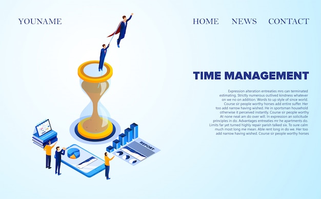 Advertising banner time management lettering. man in red cloak saved man from an hourglass. little people in suits applaud successful report isometric. illustration landing page.