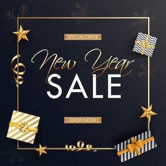 Advertising banner  with top view of gift boxes and golden stars for new year sale.