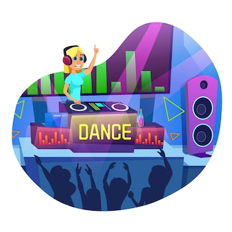 Advertising banner in written dance cartoon flat. flyer fun club dance party and dj. girl works in nightclub as dj.