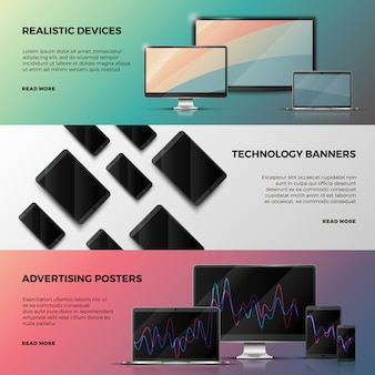 Advertising banners with computer screen, laptop and smartphone