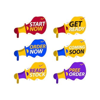 Advertising banners with megaphone get ready badge speaker attention please and start now banner s